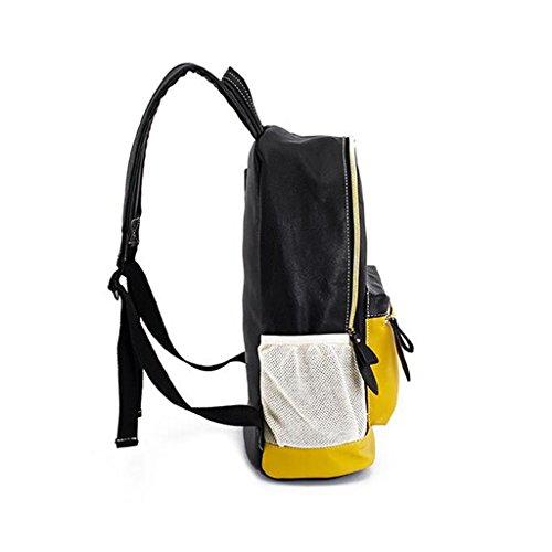 LWT - 017 torna al singolo scolaro borsa sacchetto coreano versione a forma di zaino PU College Student Bag (27 * 15 * 41 centimetri) (Nero)