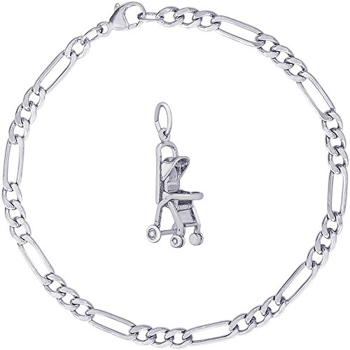 rling Silver Stroller Charm on a Classic Figaro Bracelet, 7