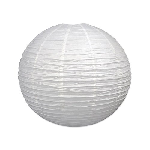 Pack of 6 White Decorative Classical Jumbo Paper Lantern Hanging Decorations 30