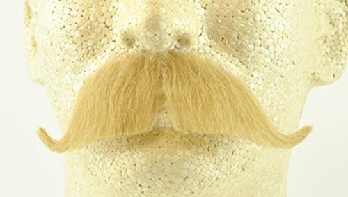Q-tip Costume Halloween - Colonel Major Moustache BLONDE - 100% Human Hair - no. 2014 - REALISTIC! Perfect for Theater - Reusable!