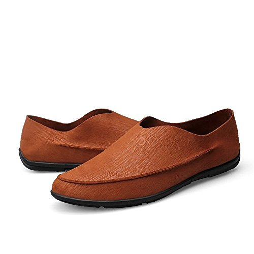6 nuovo Brown barca 5 nbsp;uomo mocassino UK mocassini solido shoes colore Shufang mocassini 2018 uomo Brown guida ballerine da Minimalism Cqa1tAWwH