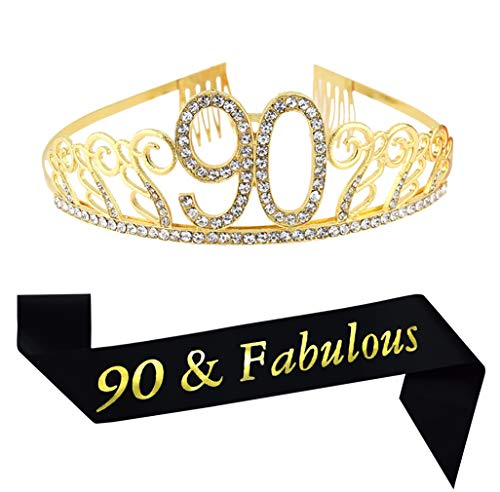 90th Birthday Sash - 90th Brithday Gold Tiara and Sash,