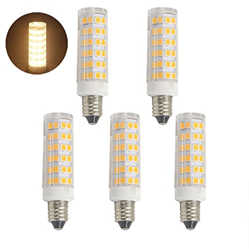 E11 led bulb, Dimmable, Mini Candelabra Base,60W or 75W Equivalent halogen Repalcement 500 Lumens, AC110V/ 120V/ 130V, Warm White 3000K,Replaces T4 /T3 JD Type Clear E11 Light Bulb (Pack of 5) (Xenon Candelabra Mini)