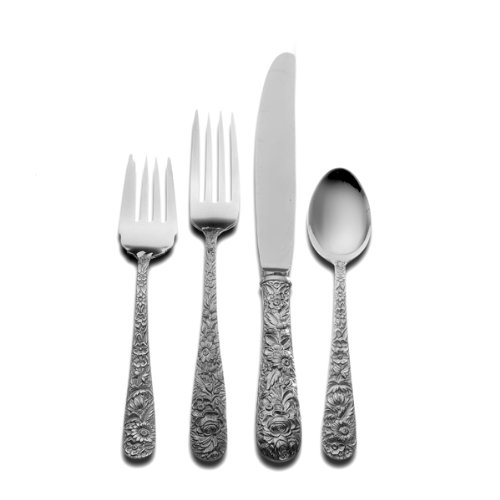 Kirk Stieff Sterling - Kirk Stieff Repousse 4-Piece Sterling Silver Flatware Place Set, Service for 1