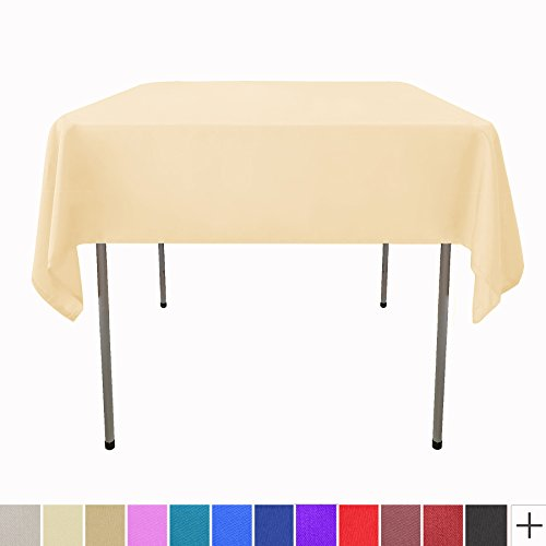 GlaiEleh tablecloth 54 inch Square Solid Polyester Tablecloth for Wedding Restaurant Party,Beige - Beige Square Tablecloth
