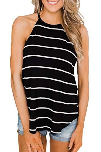 Lomaiso Women's Cute Halter Tank Tops Summer Sleeveless Black Stripe Racerback Camis -