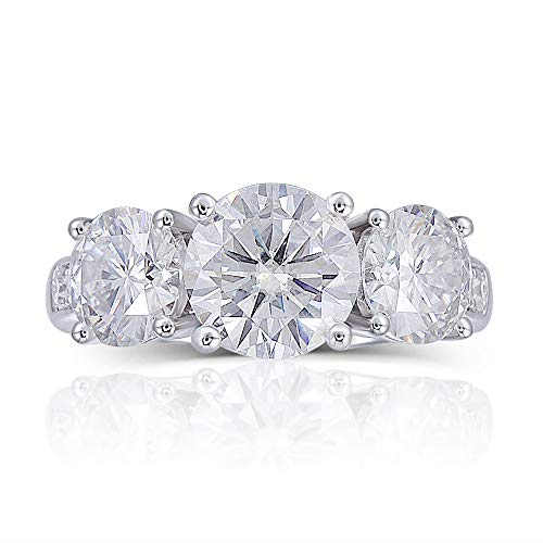 DOVEGGS 14K White Gold 3ct Center 6mm-7.5mm-6mm FG Color Moissanite Three Stone Engagement Ring Wedding Band (5)