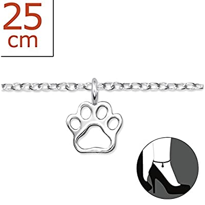 "Best Wing Jewelry .925 Sterling Silver ""Tiny Paw Print"" Anklet Bracelet (Adjustable) for sale"