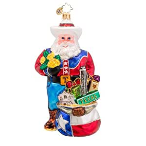 Christopher Radko Lone Star Santa Texas Glass Christmas Ornament