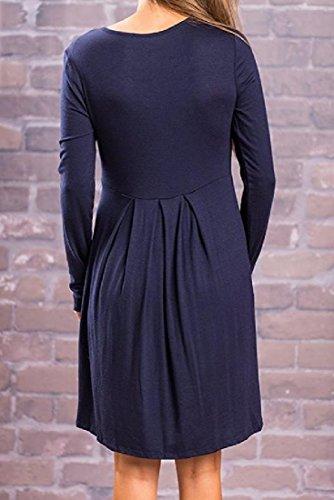 Les Femmes Coolred Crewneck Swing Imprimé Floral Casual Robe Confortable Avec Manches As1