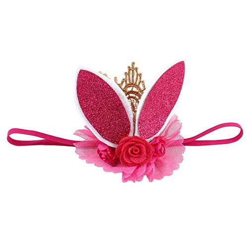 (Fashion Rabbit Ears Tiara Lace Hairband Flower Headband for Baby Girl Toddler DR (Color - Rose Red))