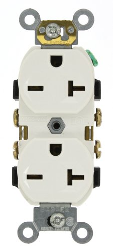 (Leviton 5822-W 20-Amp, 250-Volt, Narrow Body Duplex Receptacle, Straight Blade, Commercial Grade, Self Grounding, White)