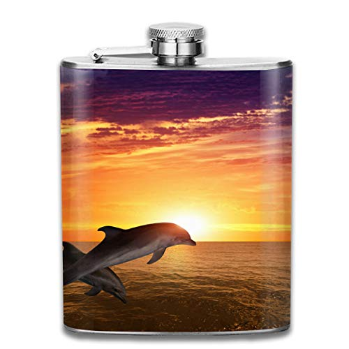 - Dolphins Fort Myers Sunset Cruise Fashion Portable Stainless Steel Hip Flask Whiskey Bottle for Men and Women 7 Oz