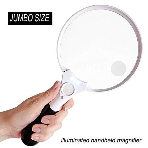 5.5 inch Extra Large LED Handheld Magnifying Glass with Light - 2X 4X 10X Lens - Best Jumbo Size Illuminated Magnifier for Reading Books, Newspapers, Maps, Coins, Jewelry, Hobbies & -