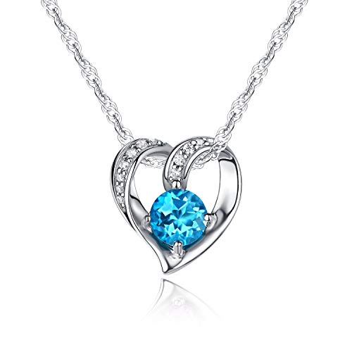 Sterling Silver Necklace for Women Heart Style Pendant Blue Topaz Natural Gemstone Birthstone Birthday Gift