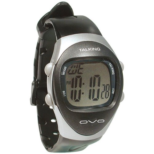Amazon Mans Modern 4 Alarm Talking Watch Silver And Black By
