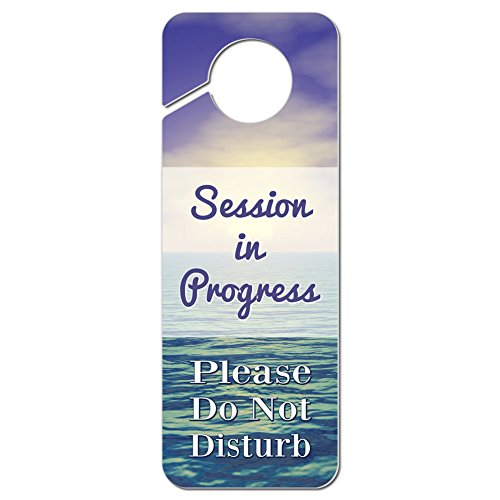 Do Not Disturb Door (Session in Progress Please Do Not Disturb Plastic Door Knob Hanger Warning Room Sign - Pastel Ocean Sunset)