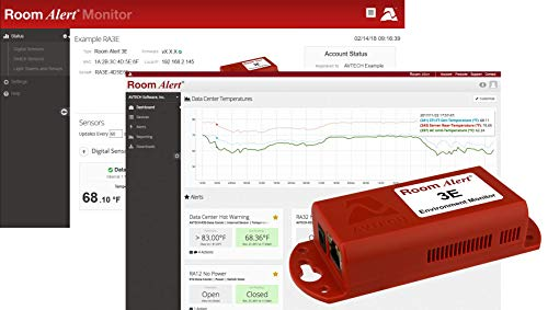 Room Alert 3E Temperature & Environment Monitor - 24/7 online & software alerting and reporting to prevent downtime, Made in the USA (Monitor Server)