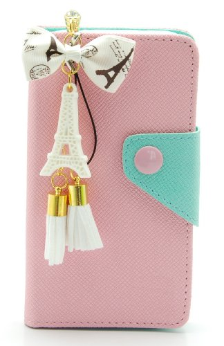ZZYBIA S4 LMZT Pink Leatherette Case Card Holder Wallet with a Eiffel Tower Fringed Dust Plug Charm for Samsung Galaxy S4 IV I9500 I9505