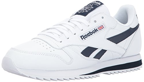 Reebok Men CL Leather Ripple Low BP Fashion Sneaker White/Collegiate Navy