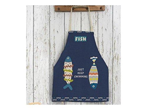 JwlqAy Perfekt Baumwolle Leinen Cartoon Fisch Gedruckt Brief Schürze Hängenden Hals ärmellos für Frau und Mann