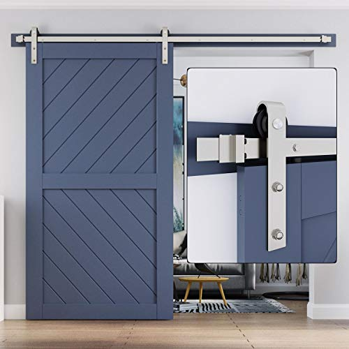 Easelife 8 Ft Heavy Duty Brushed Nickle Sliding Barn Door Hardware Track Kit Modern Slide Smoothly Quietly One Piece 8ft Track Easy Install Fit 40 48 Wide Door 8ft Track Single Door Kit