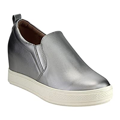 Beston DE07 Women's Low Platform Slip On Elastic Hidden Heel Wedge Sneaker