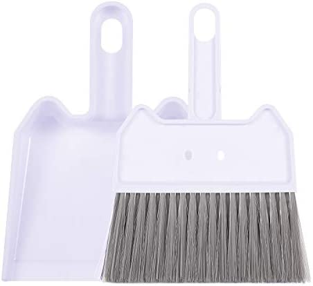 Sunnolimit Mini Dustpan and Brush Set, Tiny Dust Pan and Brush Set, Plastic Dust Pan, Suitable for The Table, Desk, Keyboard, car, Cabinet, Sofa and Other Areas(White)