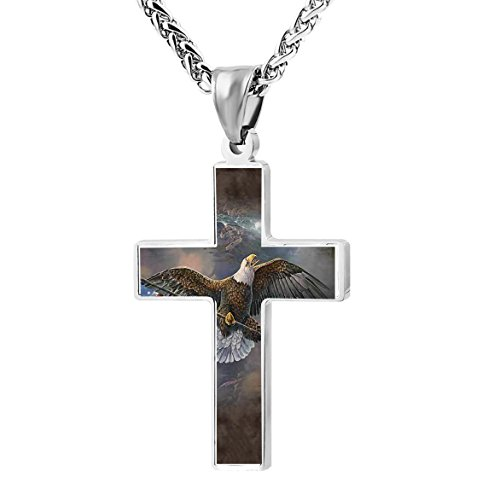 Kenlove87 Patriotic Cross Flag Bearing Eagle Religious Lord's Prayer Jewelry Pendant Necklace