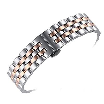 autulet Best 316L Stainless Steel Watch Bands Replacements 18mm Curved End Solid Links Two Tone Silver and Rose Gold from AUTULET