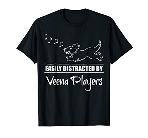 Running Dog Easily Distracted by Veena Players Music Notes T-Shirt