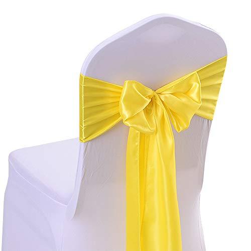 50PCS 17X275CM Satin Chair Bow Sash Wedding Reception Banquet Decoration #03 Bright Yellow