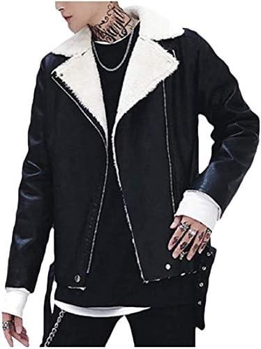 Xudcufyhu Men Comfy Sherpa Casual Collar Turn-Down Fashion Leather Coat Jacket