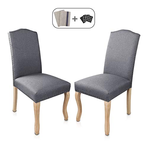 Cheap Dining Chairs Set of 2 Solid Wood Linen Rivet Restaurant Stool Armless Room Chair Accent Solid Wood Modern Style Living Home Furniture (Grey 02)