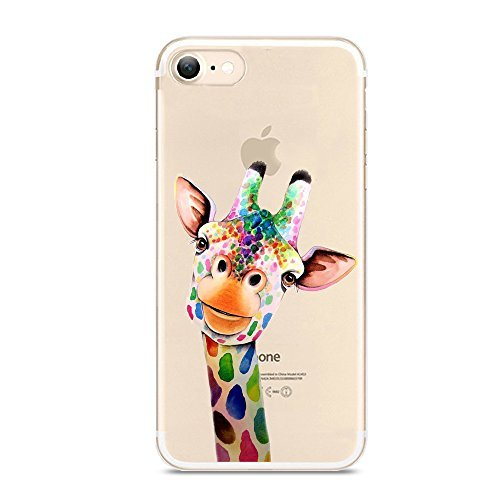 iPhone 7 Case,Cute Novelty Animal Pattern on Soft TPU Silicone Protective Skin Ultra Slim & Clear with Unique Design Gift Bumper Back Cover for iPhone 7,Painting Giraffe M012