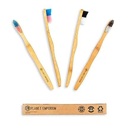 Cepillo de dientes de bambú premium biodegradable de Planet Emporium natural, vegano y orgánico.