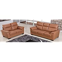 American Eagle Furniture 2 Piece Clark Series Top Grain Leather Upholstered Living Room Sofa Set, Dark Tan