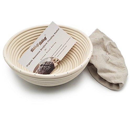 Proofing Rising Bread Basket 8.5 Inch Round Brotform Banneton Dough Proofing Rising Rattan Basket & Liner