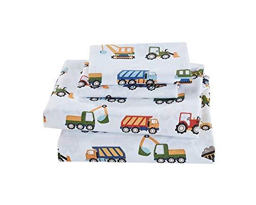 MK Home 4pc Queen Sheet Set Teens/Boys Construction Trucks Tractors Blue Red Yellow New (Queen Sheet Set)