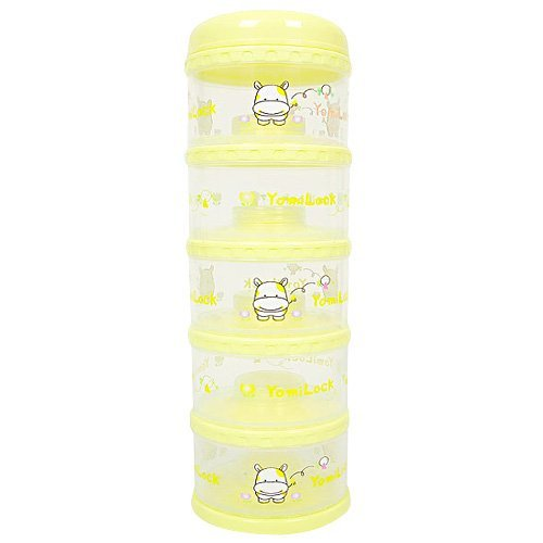 Yomilock 5-Layer Antibiotic Milk Powder Container / Dispenser, Yellow - Made In Korea by Yomilock