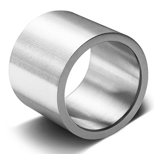 Mens Womens 19mm Wide Stainless Steel Ring Big Cool Band Matte Finish Flat Top Comfort Fit Size 10 (Ring 19mm)