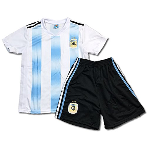長老世論調査マーティフィールディング子供用サッカーユニフォーム(シャツパンツセット) 2018モデル アルゼンチン代表 ホーム 名前背番号なし レプリカサッカーユニフォーム 子供用