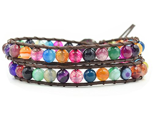 MO SI YI Multi-Layer Braided Leather Wrap Bracelet with Multi-Color 4mm Rounded/Square Agate Beads (2 wrap(6MM Round))