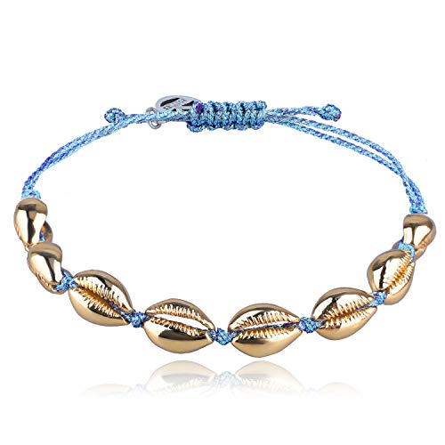 - KELITCH Gold Conch Shell Beads Bracelet Handmade Bohemia Cowry Charm Beach Weaving Anklet Fashion Jewelry for Girls/Boys(The Wizard of OZ)