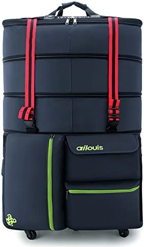 ailouis 36 Inch Expandable Extra Large XXL Wheeled Travel Duffel Luggage Bag Blue