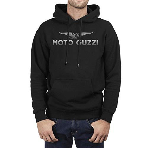 CUSOUL Fashion Boys Black Hooded Sweatshirt Moto-Guzzi-Motorcycle-Logo- Fleece Long Sleeve - Jacket Guzzi Moto