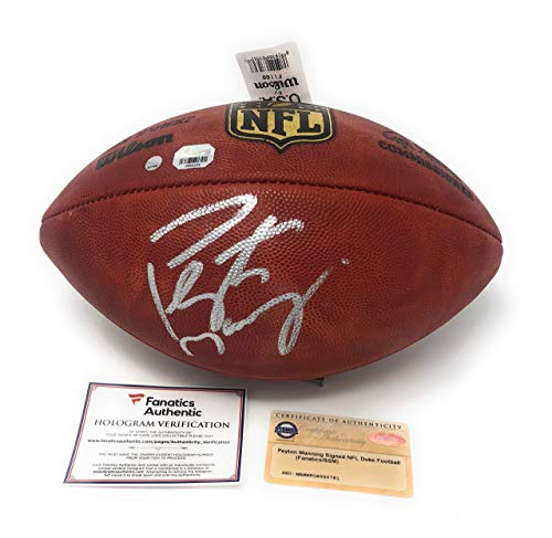 Peyton Manning Indianapolis Colts Denver Broncos Signed Autograph Authentic NFL Duke Football Fanatics & Steiner Sports (Peyton Manning Signed Authentic Football)