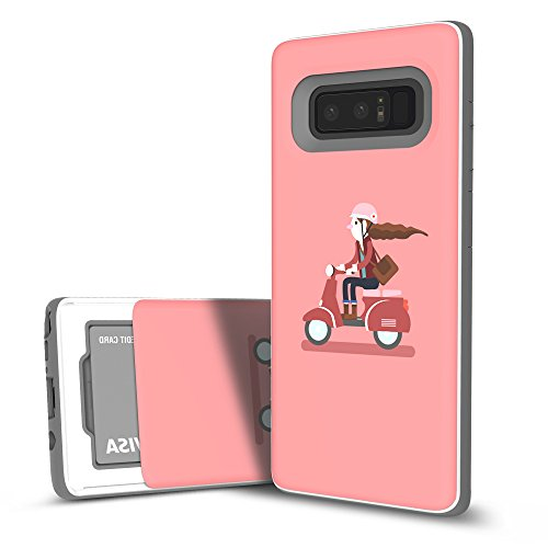 Galaxy Note 8 Case, DesignSkin [Slider] Sliding Card Holder Slot 3-Layer Design Cushion Bumper Protection Shock Absorption Shockproof Extreme Heavy Duty Wallet Cover for Galaxy Note 8 (Scooter - Case Slider