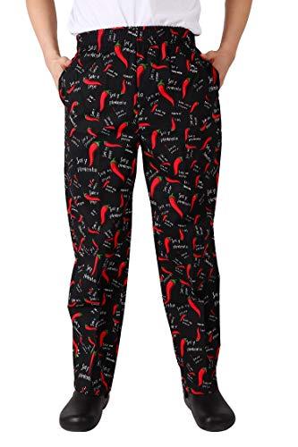 Nanxson Chef Pants Uniform Unisex Men's Hotel/Kitchen Elastic Waist Work Pants Trousers CFM2010 (Peppers, L)