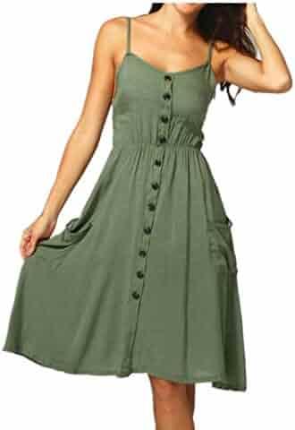 05025fb5b2ac Summer Spaghetti Strap Dresses, Womens Sleeveless Boho Floral Buttons Swing  Spaghetti Strap Beach Sundress